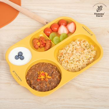 YUMMY CORN LUNCH PLATE DIVIDED FEEDING PLATES FOR BABY KIDS