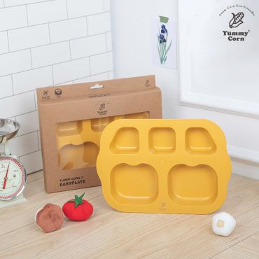 YUMMY CORN BABY PLATE DIVIDED FEEDING PLATES FOR BABY KIDS