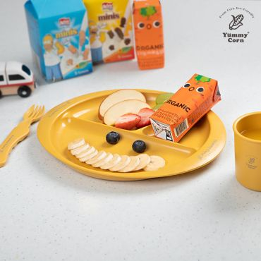 YUMMY CORN THREE DIVIDED PLATE FEEDING PLATES FOR BABY KIDS