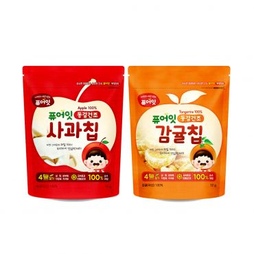 [NAEBRO] PURE-EAT Freeze-Dried Fruit Chips (Tangerine 2P + Apple 2P) (12g*4)