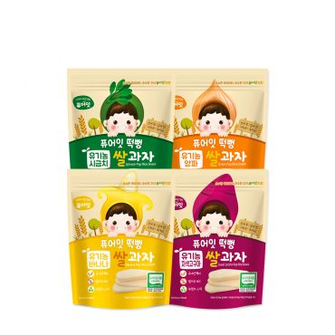 [NAEBRO] PURE-EAT Organic Pop Rice Snack (4-Type Set: Banana, Spinach, Onion, Purple Sweet Potato) (30g*4)
