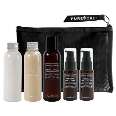 Pureforet-Centella Cica Travel Kit (Cleansing water, Toner, Lotion, Shampoo, Conditioner)