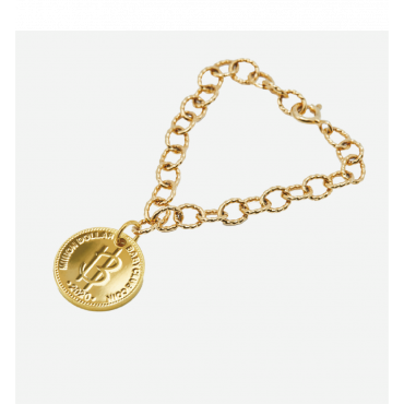 Nordic Gold Coin Bracelet with Round Chain