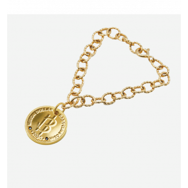 Nordic Gold Coin Black Diamond Bracelet with Round Chain