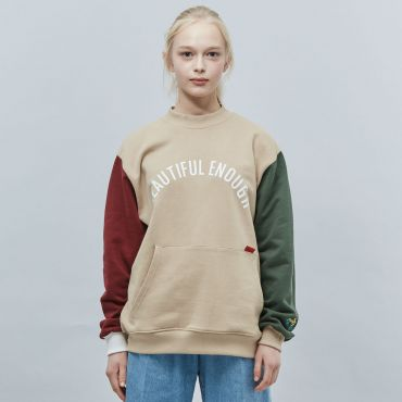 MOTIVE STREET - COLOR BLOCK SWEATSHIRT BEIGE