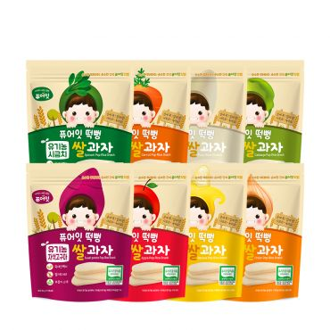 [NAEBRO] PURE-EAT Organic Pop Rice Snack (8-Type Set: Banana, Apple, Cabbage, Purple Sweet Potato, White Rice, Carrot, Spinach, Onion) (30g*8)