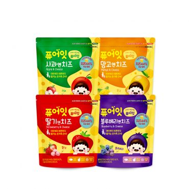 [NAEBRO] PURE-EAT Fruit &Cheese Snack(4-Type Set: Strawberry, Mango, Blueberry, Apple) (64g)