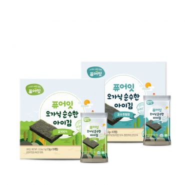 [NAEBRO] PURE-EAT Organic Seaweed (2-Type Set: Seasoned, Roasted) (2g*10Packets, 1.5g*10Packets)