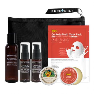 Pureforet-Centella Cica Acne Kit (Cleansing water, Toner, Lotion, Cream, Balm, Mask Pack)
