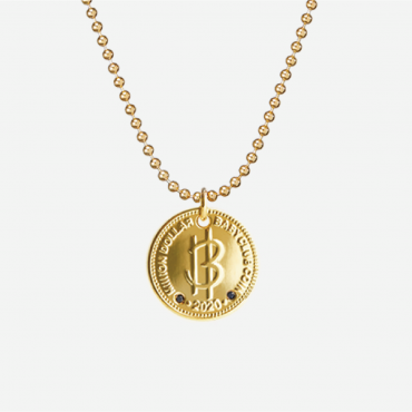 Nordic Gold Coin Black Diamond Necklace with Ball Chain