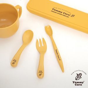 YUMMY CORN FEEDING SPOON FORK SET UTENSIL FOR BABY KIDS