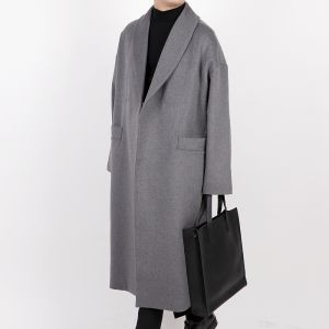 Shawl collar overfit long wool coat (CHACOAL)