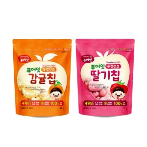 [NAEBRO] PURE-EAT Freeze-Dried Fruit Chips (Tangerine 3P + Strawberry 3P) (12g*6)