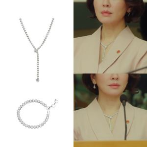 MINWHEE ART JEWELRY - K Drama Lies of Lies, Round Drop Eternal Necklace & Bracelet