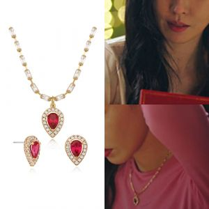 MINWHEE ART JEWELRY - Penthouse, Ruby Water Drop Necklace & Earrings