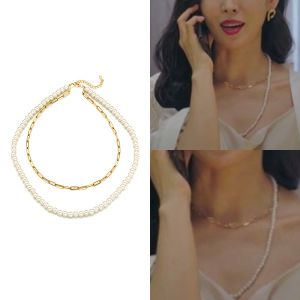 MINWHEE ART JEWELRY - Penthouse, Oval Chain Pearl Necklace & Bracelet (S size)