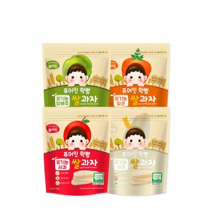 [NAEBRO] PURE-EAT Organic Pop Rice Snack (4-Type Set: Apple, Cabbage, White Rice, Carrot) (30g*4)