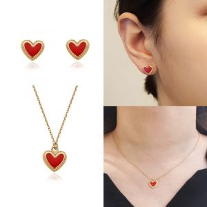 MINWHEE ART JEWELRY - Red heart Earrings & Necklace