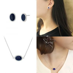 MINWHEE ART JEWELRY -Blue Earrings & Necklace Set