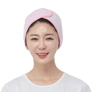 [Line] Gift Cotton Towel Hair Turban Wrap (Pink, White)
