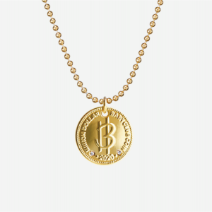 Nordic Gold Coin White Diamond Necklace with Ball Chain