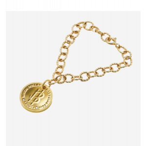 Nordic Gold Coin White Diamond Bracelet with Round Chain