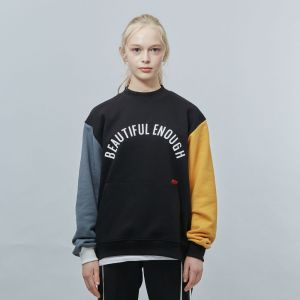 MOTIVE STREET - COLOR BLOCK SWEATSHIRT BLACK