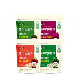 [NAEBRO] PURE-EAT Finger Organic Vegetable Ring (4-Type Set: Spinach,Strawberry Apple, Sweet Pumpkin, Purple Sweet Potato) (40g*4)