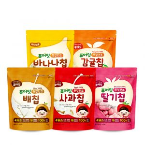 [NAEBRO] PURE-EAT Freeze-Dried Fruit Chips (5-Type Set: Tangerine, Apple, Pear, Strawberry, Banana) (12g*4, 25g*1)