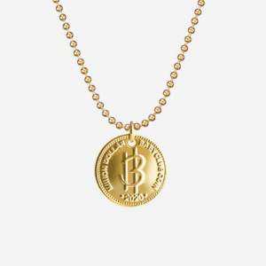 Nordic Gold Coin Necklace with Ball Chain