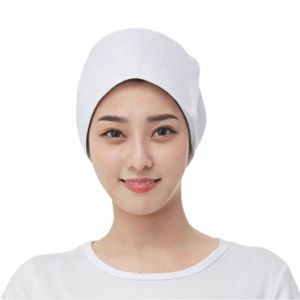 [Line] Square Cotton Towel Hair Turban Wrap (Pink, White)