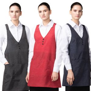[Yodel] YA113 Melange Three Button Hair Salon Apron (3 Colors / 2 Sizes)